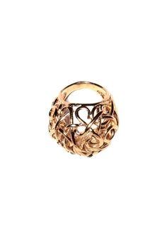 Textured 'Hook' Ring in Bronze.
