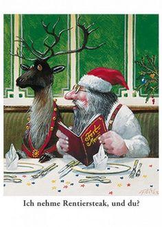 Rentiersteak - Postkarte zu Weihnachten von Gerhard Glück