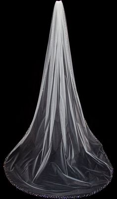 Wedding Veil with Crystal Edge, Cathedral Length Crystal Bridal Veil, 110 inch, White or Ivory Veil, Style 1027 'Felicia', Made to Order. $185.00, via Etsy.