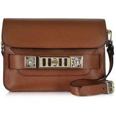 Proenza Schouler Handbags PS11 Mini Classic Nice Tan Saffiano Leather... ($1,885) ❤ liked on Polyvore featuring bags, handbags, shoulder bags, tan, shoulder handbags, brown purse, handbags purses, man bag and brown shoulder bag