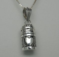 HEART CREMATION JEWELRY URN NECKLACE STERLING SILVER CYLINDER MEMORIAL KEEPSAKE