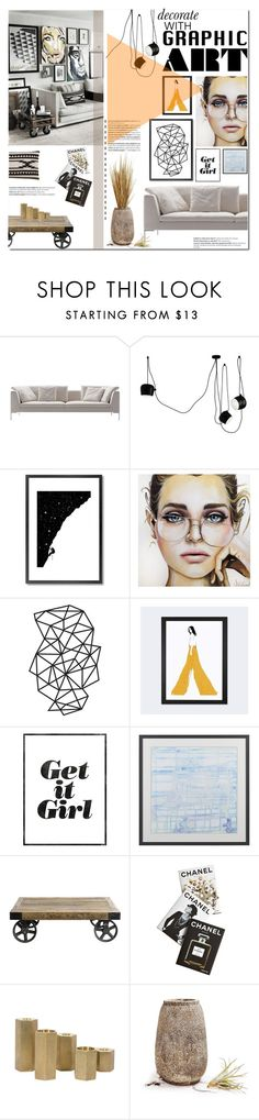 """""""Get it Girl"""" by fyenksfiona ❤ liked on Polyvore featuring interior, interiors, interior design, home, home decor, interior decorating, B&B Italia, Flos, Monde Mosaic and iCanvas"""