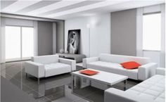 Modern living room with white sofas matching white, with red cushions
