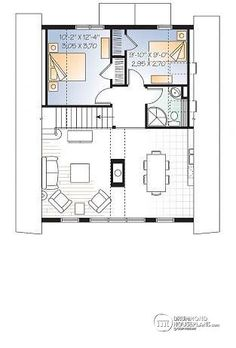 Cool W Aframe Wood Cabin House Plan With Mezzanine And Open Floor Plan  Layout House Plans Cottages And The Oujays With Mezzanine House Design.