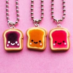Kawaii Peanut Butter and Jelly Sandwich Necklace (bff necklace)