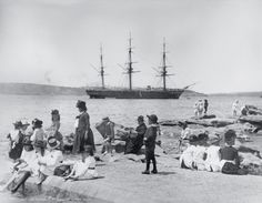 HMS Wolverine at anchor, seen from Mrs Macquaries Point, Sydney Harbour, ca. 1881-87. The fourth Royal Navy ship to bear the name Wolverine, this wooden-screw corvette was launched in 1863 and sailed to Australia in 1881, where it was flagship for Commodore John C. Wilson's Australia Station. It was later decommissioned and converted to a mercantile barque.