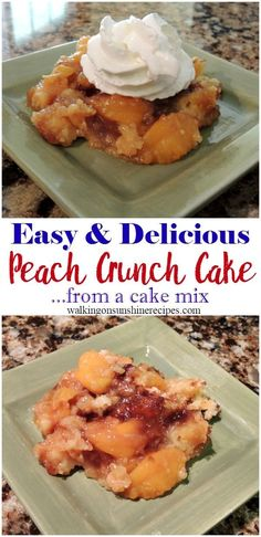 Peach Crunch Cake from Walking on Sunshine Recipes. The most easiest dessert you will make this summer.  Starts out with a cake mix and is so amazingly delicious!