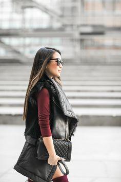 Layered Vests :: Quilted Vest & Burgundy boots :: Outfit :: Top :: Oak long vest , Helmut Lang shearling vest Dress :: ASOS Shoes :: Stuart Weitzman Bag :: Chanel Accessories :: Karen Walker sunglasses, Rolex watch, Wanderlust + Co ring Published: January 6, 2016
