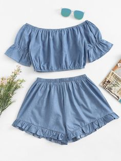 Summer Ruffles Solid Flat Elastic High Off Regular Casual Casual and Going Off Shoulder Ruffles Shorts Set Crop Top Outfits, Cool Outfits, Summer Outfits, Teen Fashion, Fashion Outfits, Womens Fashion, Off Shoulder Crop Top, Ruffle Shorts, Two Piece Outfit