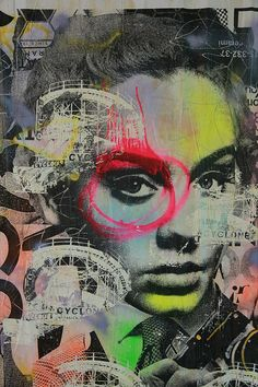 Paint-Bleeding Portraits - Street Artist Dain Fuses Mixed Media, Wheatpasting and Collage (GALLERY) I like the colours in it and the fact that this doesnt have to be a face, it could be any building or object, so its great for the theme of culture 3d Street Art, Street Artists, Collage Portrait, Collage Art, Mixed Media Photography, Art Photography, Graffiti Art, Art Watercolor, A Level Art