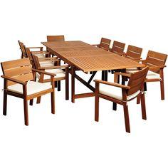 Alonzo Eucalyptus 11-Piece Extendable Patio Dining Set - Style # 7V257