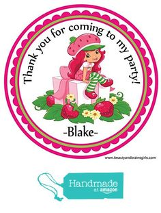 Strawberry Shortcake Custom Personalized Stickers Birthday Party Favors - Treat Tag Toppers- 24 Stickers Popular Size 2.5 Inches. Peel and Stick Backing from Custom Party Favors, Handmade Craft , and Educational Products http://www.amazon.com/dp/B01E83D4WU/ref=hnd_sw_r_pi_dp_rp4dxb05N503N #handmadeatamazon