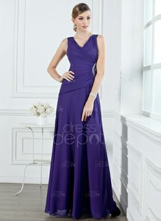 A-Line/Princess V-neck Floor-Length Chiffon Bridesmaid Dress With Ruffle Beading (007001053) http://www.dressdepot.com/A-Line-Princess-V-Neck-Floor-Length-Chiffon-Bridesmaid-Dress-With-Ruffle-Beading-007001053-g1053 Bridesmaid Dress Bridesmaid Dresses #BridesmaidDress #BridesmaidDresses