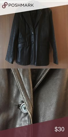 Genuine leather blazer jacket JLC New York Outerwear genuine black leather, fully lined jacket.  Two front pockets, two button closure.  Some signs of wear but nothing bad. Perfect Spring jacket over anything!! JLC New York Jackets & Coats Blazers