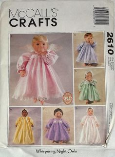 Sewing Pattern Doll Clothes for 10  12 14  fits Bitty baby, Cabbage patch and more by WhisperingNightOwls