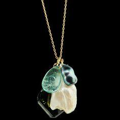ten thousand things  large emerald bead • Tahitian keshi pearl • American natural pearl • dark green tourmaline slice • 18 karat gold holders • 18k karat fine gold chain • 18 karat handmade hook clasp. 18 inches in length