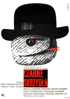 Vintage Polish movie poster 1962 by Wiktor Gorka : Czarne skrzydla