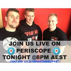 "Tonight we go live! 8pm AEST on @periscope_tv ! Make sure your tuned into ""Spartansuppz""  #periscope #q&a #gymgymlife #periscopeapp #sbapchat #twitter #hashtag #fitspo #gainz #yeahbuddy #fitness #bodybuilder #live #periscopetv #winning #aesthetics #supplements #sport"