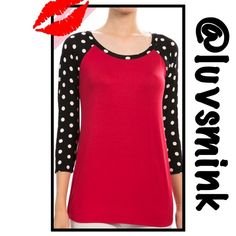 BLACK & RED POLKA DOT TOP - SMALL NWT $25 Great for a casual game day, or throw it on with your favorite jeans. Dolman sleeves for a comfortable fit, side split like a jersey, but made of 95/5 Rayon/Spandex.  Available in Small, Medium, and Large. No holds or trades; price is firm, unless bundled.  THIS LISTING IS FOR A SMALL, NWT Brenda's Tops