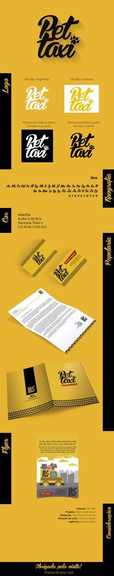 Projeto de design. Logo e materiais de identidade visual para o cliente Pet Taxi de Campinas/SP. Projeto freela.