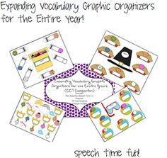 Speech Time Fun: Expanding Vocabulary Graphic Organizers for the Entire Year! (EET Companion!) Pinned by SOS Inc. Resources. Follow all our boards at pinterest.com/sostherapy for therapy resources.