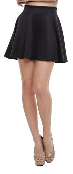 A.S Made in USA Womens Basic Versatile Stretchy Flared Skater Skirt
