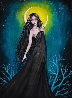 Fine art print of my original illustration Nightwraith to a series of works on the theme of Slavic mythology. King Queen Tattoo, Qinni, Black Fairy, Goth Art, Whimsical Art, Dark Art, Art Pictures, Art Inspo, Watercolor Art