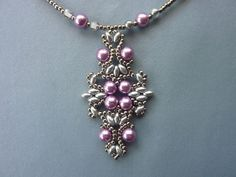 FREE Pattern - LOTUS LACE Pendant. page 1/2. From BeadDiagrams.