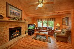 "Cozy up by the fireplace at ""Hemlock Hideaway"""