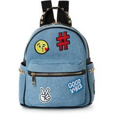 Imoshion Denim & Black Patch Backpack ($23) ❤ liked on Polyvore featuring bags, backpacks, blue, handle bag, blue backpack, zipper bag, blue bag and patch handle bags