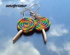 Kolczyki TĘCZOWE LIZAKI 2 kolorowe w unoprimo na DaWanda.com Drop Earrings, Etsy, Vintage, Jewelry, Fashion, Moda, Jewlery, Jewerly, Fashion Styles