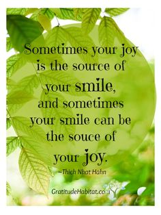 sometimes your smile can be the source of your joy ~ Thay Joy Quotes, Gratitude Quotes, Smile Quotes, Faith Quotes, Happy Quotes, Positive Quotes, Friend Quotes, Positive Vibes, Qoutes