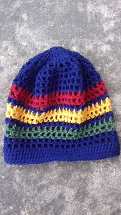 ILA Irie Dread Nett Rasta Crochet Tam  Red Gold Green stripe  Rasta Crown   Summer Hat  Hats for Locs  Dreadlocks Tam  Rasta Hat  for men 662b6381148a