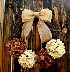 Wreath - Chocolate and Cream Hydrangea Wreath - Fall Wreath - Door Wreath - Rustic Wreath - Burlap Bow Wreath by Frontporchdecor on Etsy