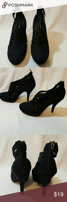 "Apostrophe Black Heels Size 7 4"" heel Man made material suede like light scuff mark inside on heel Apostrophe Shoes Heels"
