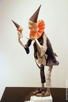 Clown/Jester by Happydolls Pierrot Clown, 3d Figures, Marionette, Paperclay, Soft Sculpture, Clay Art, Beautiful Dolls, Puppets, Amazing Art