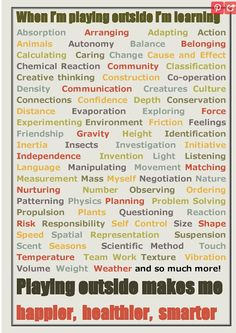 At times, parents make see outside play as just 'play' and not real learning. This poster, and attached website, help parents understand the value of outside play, and what children are learning. I believe outside play to be highly beneficial, and parents should understand it's value in order to appreciate it.
