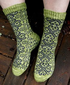 Valtiatar Socks represent similar features to The Emperor's Bride Socks: both are knitted toe up with a reversed riverbed gusset and a round heel. Charts are provided for stranded colorwork. Length of the sock is easily adjustable; the width can be adjusted by changing the gauge.