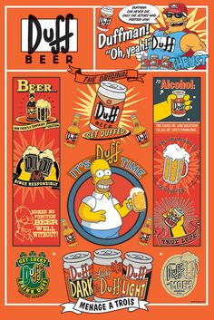 The simpsons - framed tv show poster / print (duff beer infographic - quotes & pictograms) (size: 24 Simpson Wallpaper Iphone, Cartoon Wallpaper, The Simpsons, The Duff, Homer Simpson Beer, Beer Infographic, Duff Beer, Best 90s Cartoons, Beer Poster