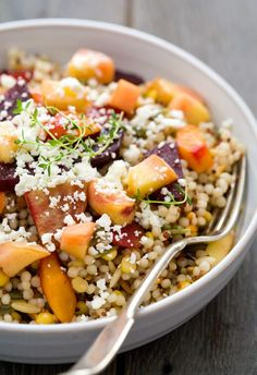 Peach & Roasted Vegetable Quinoa Salad with Crumbled Feta | #glutenfree #vegetarian