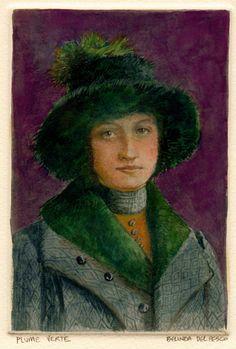 Plume Verte (Green Feather) Monotype with Watercolor Printmaking ART Belinda DelPesco
