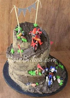 See lots of pics and how I carved the cake to get this wonky shaped Dirt Bike Racing Cake. Motorcross Cake, Motorcycle Cake, Motorcycle Birthday Cakes, Dirt Bike Birthday, Dirt Bike Cakes, Dirt Bike Party, Bike Birthday Parties, 5th Birthday Cake, Racing Cake