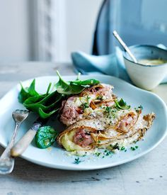 Baked wholemeal crêpes with ham, leek and Gruyère recipe :: Gourmet Traveller