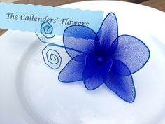 Royal blue #2 orchid place card holder, nylon flowers, weddings decoration…