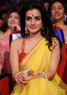 Ameesha Patel Looks Super Hot In Yellow Saree With Red Blouse At The South Film Awards 2013 Latest Indian Saree, Indian Sarees, Indian Actress Photos, Beautiful Indian Actress, Bollywood Girls, Bollywood Actress, Hot Actresses, Indian Actresses, South Film