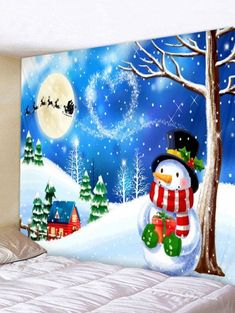 865fabe338f Christmas Night Snowman Print Tapestry Wall Hanging Decoration - OCEAN BLUE  W91 X L71 INCH