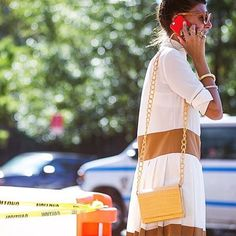 TheNETSET's #BatGio has us contemplating yellow for #FW15, take your cue from the stylish editor and pair it with neutral tones. #fashionweek #streetstyle by theurbanspotter