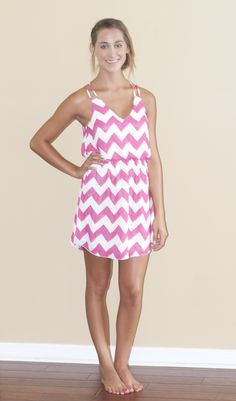 Lily And Lace Boutique- Pink Pool Party Chevron Dress