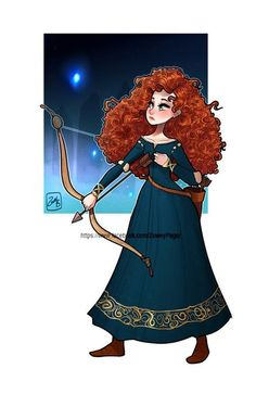 Merida [feat. Will O' The Wisps (x3)] (Drawing by ZoweyPage @Facebook) #Brave