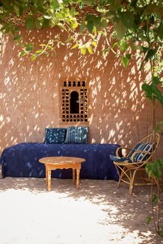 Just outside of the the tiny village of Oumnas, in the foothills of Morocco's Atlas Mountains, sits Berber Lodge – a pared-down version of… Moroccan Bedroom, Moroccan Interiors, Moroccan Decor, Moroccan Tiles, Mud House, House Wall, Outdoor Spaces, Outdoor Living, Outdoor Decor